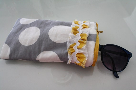 Yellow, Gray and White Zipper Sun glass Case with Ruffle Detail