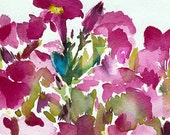 original watercolor \/ petunias \/ ON HOLD FOR COLLECTOR