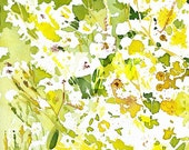 original watercolor \/ yellow and white \/ ON HOLD for COLLECTOR