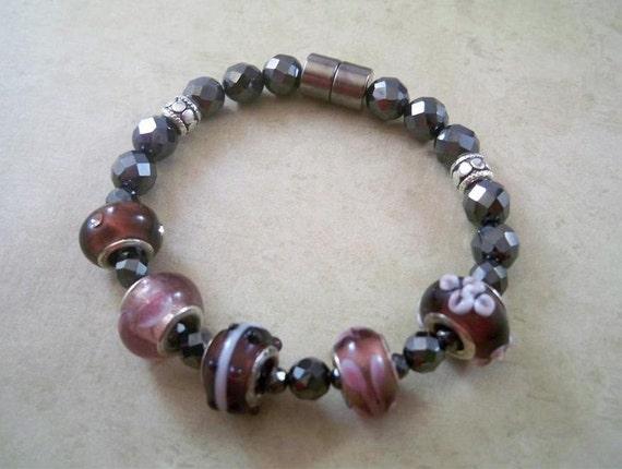 Beaded Hematite Bracelet, Plum w/ Black Magnetic Hematite