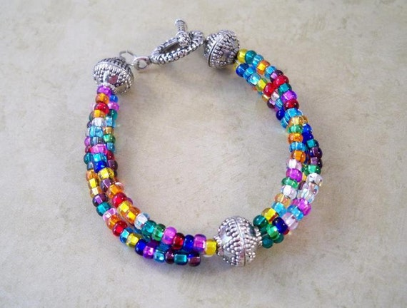 Glass Beaded Bracelet, Multi Colored Seed Beads with Silver Accents