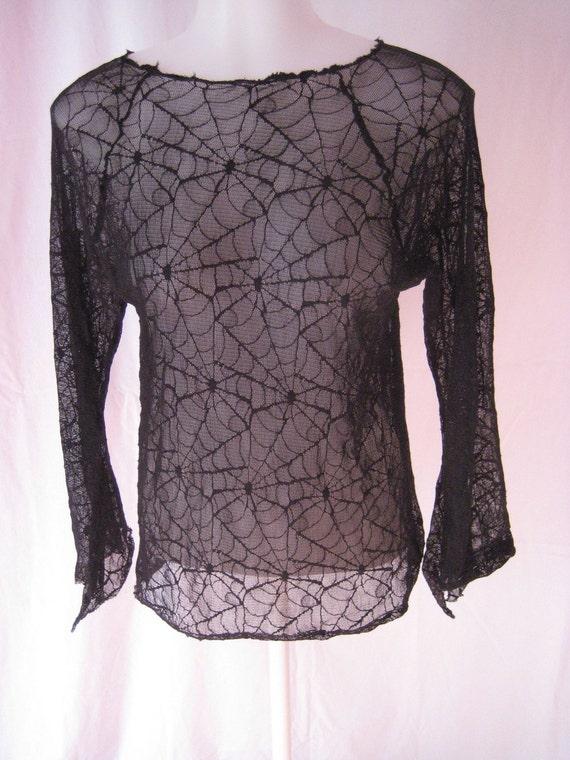 Black Cobweb Spiderweb Ladies top size Medium  Stretchy Canada