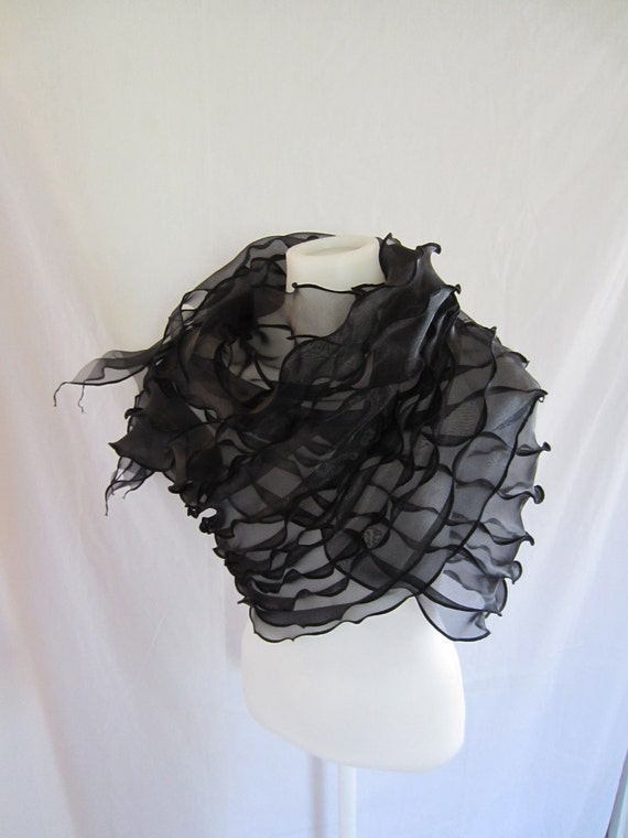 Black organza fold and flow wrap