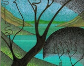 Art Card, Pen and Ink, Pointillism, Stylized Landscape Oyama Looking North