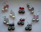 Your Choice Swarovski Crystal and Pearl, Sterling Silver Earrings