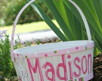 Hand painted Easter Basket in Pink by MyTwinkles on Etsy