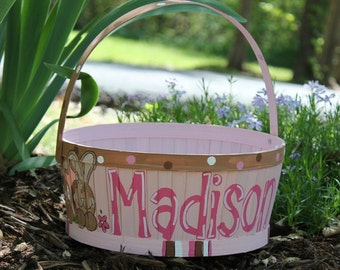 Hand-Painted Easter Basket white round with by abbycakesoriginals