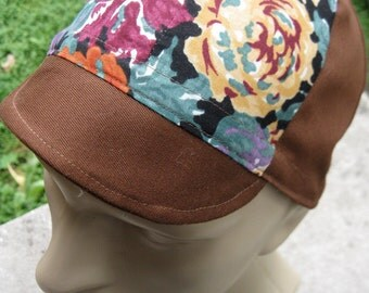 Cycling Cap - Roses & Brown (small-medium)