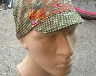 Cycling Cap - Green Houndstooth Brown Flowers (Medium)
