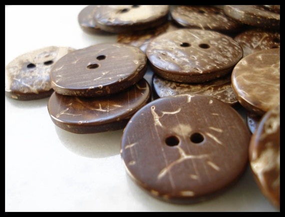 "10 Coconut Shell Buttons 3/4"" of an inch"