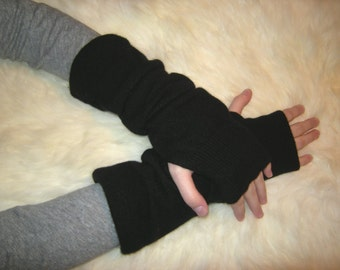 Penny, 100% pure Cashmere Arm Warmers, Black