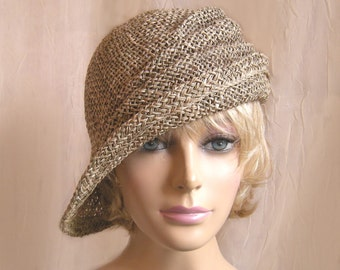 Ava, seagrass side drape millinery hat, womens straw cloche hat