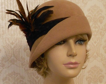 Ashley, Fur Felt Cloche, millinery hat, Downton Abbey era, camel color