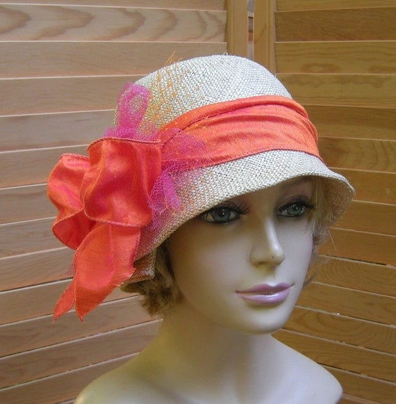 Amelia Cloche with Silk Ribbon, womens straw millinery hat