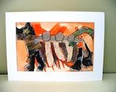 Dog Collage Orange Art Mixed Media Original Mini Drawing