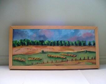 Farm Landscape Painting Framed Iowa Kansas Art Hay Barrels Plein Air