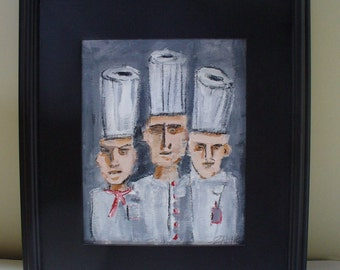 Framed Chef Painting Drawing Kitchen Decor Art Restaurant Wall Decor