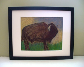 Bison Art Framed Southwestern Buffalo Pastel Tribal Montana Decor