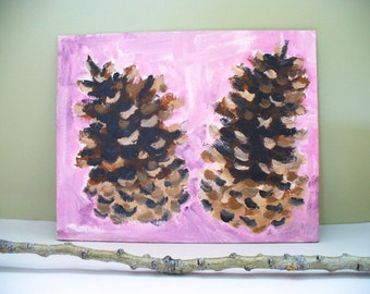 Pinecone Painting Art Woodland Forest Baby Girl Nursery Wall Decor