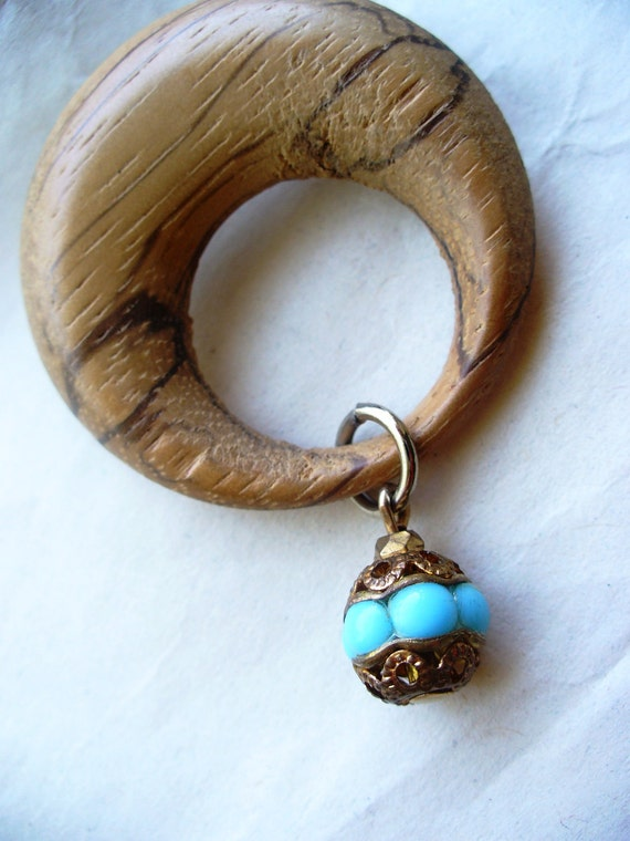 Wood Turquoise Cowgirl Brooch Western Upcycled