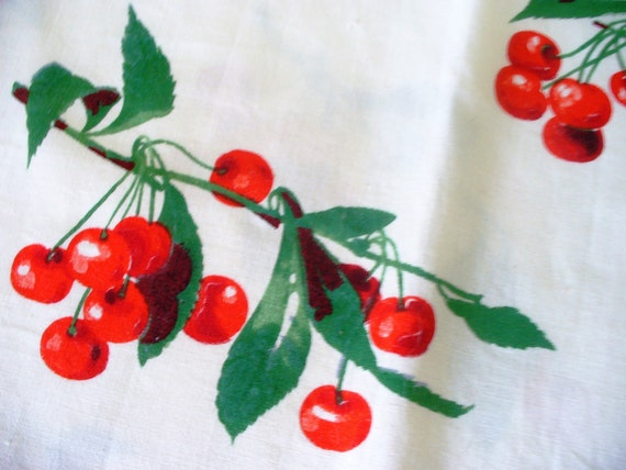 Vintage Cherry Cotton Fabric Mid Century Kitchy Shabby Chic