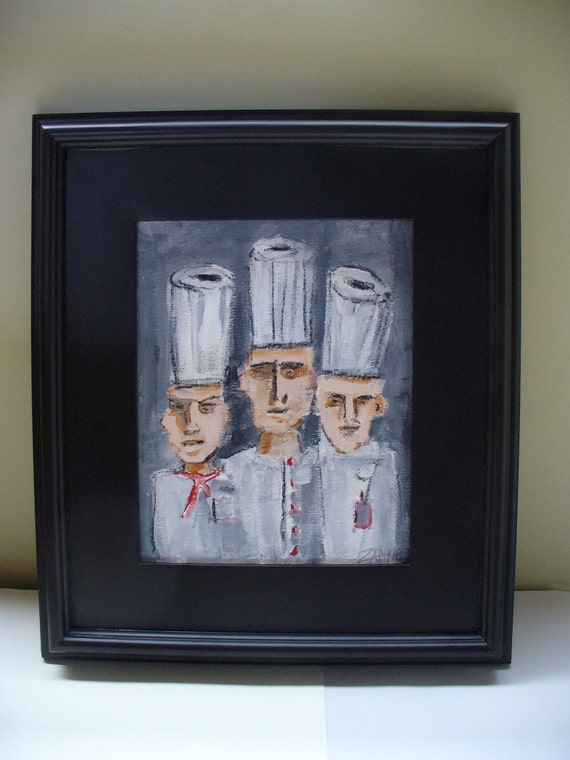 Framed chef painting drawing kitchen decor art restaurant wall for Kitchen framed wall art