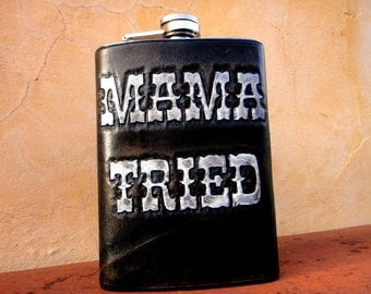 Mama Tried Tooled Leather Flask