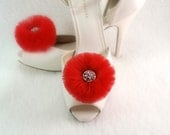 Gift Weddings Shoe clips- Red  tulle  flower, available in Pink, Ivory, Yellow, Blue, Green, Purple, White