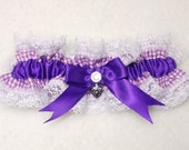 Ready to Ship- Bridal Purple Gingham  Bows White lace on Garter Set, Bridal Keep and Toss, Charm, Lace Garter, Vintage, Gingham