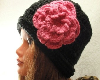 2 PDF's - EASY  Pattern for Crochet  Black Slouchy hat and Pattern for crochet flower