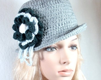 PDF- EASY  PATTERN- Gray Hat with brim/chic/fashio/removable flowe/beanie/closhe/classic/custom available