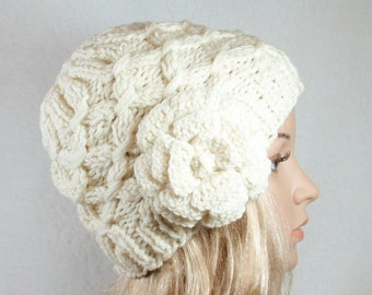 2 PDF' s -  PATTERN for Knit Hat/ beanie and Pattern for Crochet flower