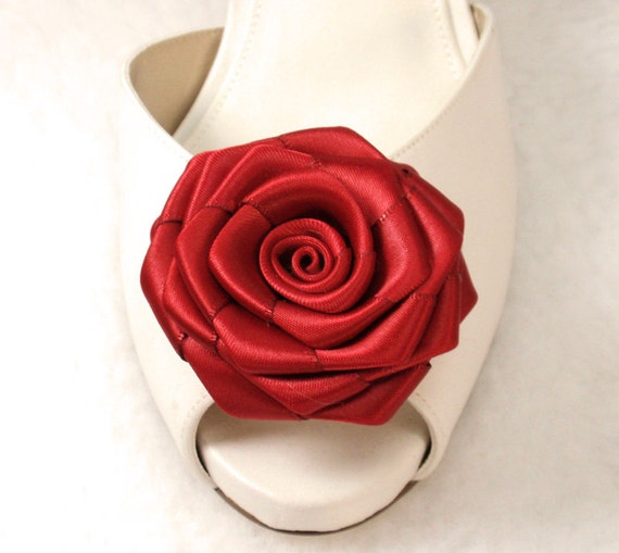 Red Satin Rose Shoe clips