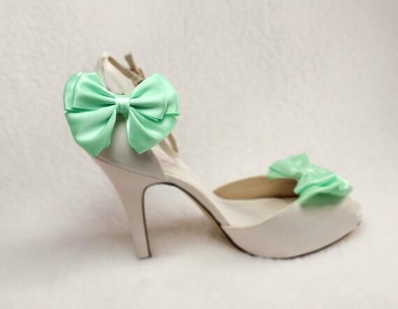 Mint Green Shoe Clips, Bow Bridal Shoe Clips, Shabby Chic- Satin Ribbon Bow, Wedding, Engagement, Bridesmaids