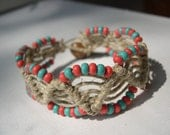 Macrame Hemp with Apricot and Turquoise Beads -- ON SALE --
