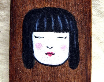 Asian Girl - painting and collage on small wood block