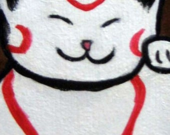 Happy Cat - Original acrylic and mixed media square