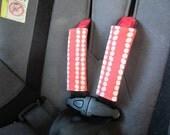 ORGANIC Car Seat Strap Covers (REVERSIBLE), Seat Belt Covers, Cobblestone Stripe