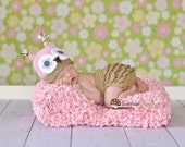 Lil Owl Hat and Ruffled Diaper Cover Set Photography Prop Custom