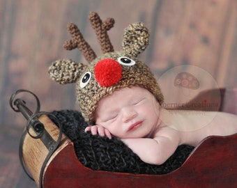 Red Nose Reindeer Hat  newborn photography prop (Boy or Girl)