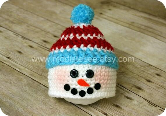 Snowman Pom Pom Hat  newborn photography prop