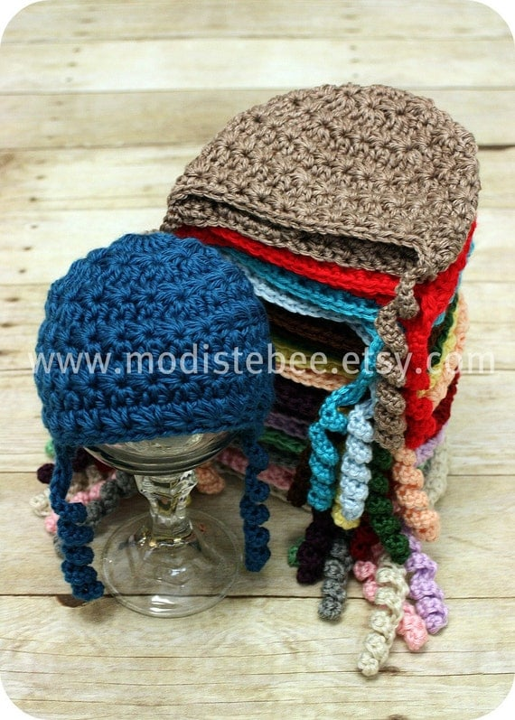 Simplify Collection in Ocean Crochet Beanie hat  Newborn photography prop