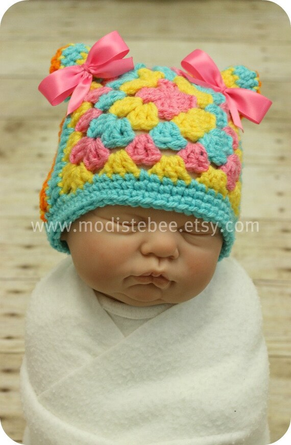 RTS Granny Square Hat (2 hats in 1) Boy/Girl photography prop