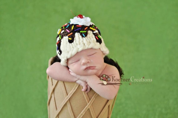 RESERVED for Abbey B.  Ice Cream Sundae (Vanilla) Hat  newborn photography prop