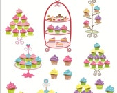 Digital clip art for all use, cupcake tree , instant download  cupcake clip art