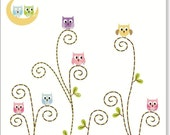 Owls clip art, owls on the branch instant download clip art