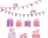 clip art, gift box clip art, bunting clip art, owls clip art, Party theme 2 clip art ,instant download clip art