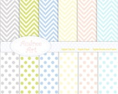 Digital paper  instant download for all use, Soft colour Chevron Paper and polkadot -No 20 Set of  digital sheets 12 sheet