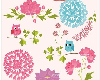 Digital clip art for all use, flowers and owls ,  instant download clip art