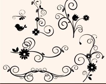 Clip art flower border, black and white flourish swirl , instant download clip art